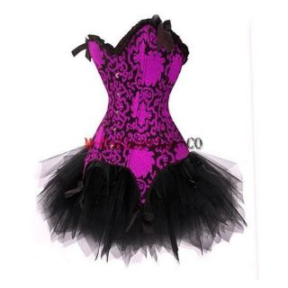 Fancy Corset Dress Moulin Rouge Burlesque TUTU Costume Ladies Lingerie