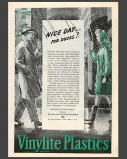 1945 Vinylite Plastic Raincoat, Nice Day For Ducks! Ad