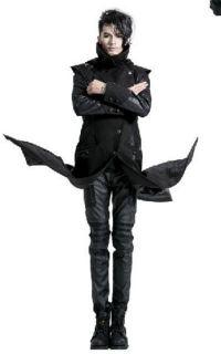 Unisex Punk Gothic PU leather embroidery Long coat jacket free ship