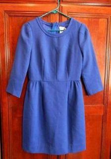 JCrew Teddie Dress $198 casablanca blue 4 double faced wool crepe
