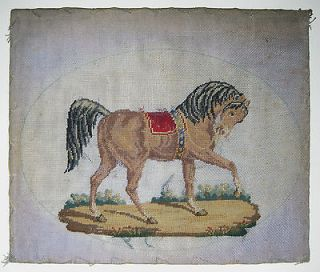 1870 Antique Victorian Needlepoint Tapestry Show Horse Red Saddle