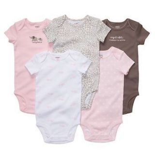 NWT Carters Girls 5 Pack Pink & Brown, Mommy & Daddy Cotton Bodysuits