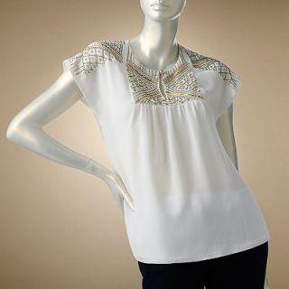 Jennifer Lopez Embellished Dolman Top  L Large  White Beaded Blouse