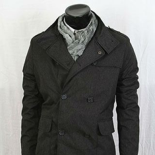 dk Shop Slim Lining Double Breasted Trench PEA Coat Jacket Dark Grey