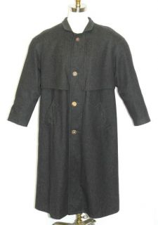 WOOL Men BLACK German WARM Hunting Winter LONG Trench Over COAT 51 XL