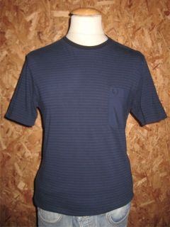 Fred Perry Service Blue Stripe Woven Trim T Shirt BNWT