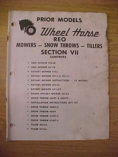 WHEEL HORSE MOWERS, SNOW THROWS & TILLERS PARTS MANUAL