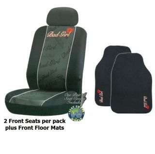 Bad Girl Black Car Seat Covers Black + Headrests + Floor Mats Bucket