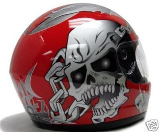 RED SKULL FULL FACE MOTORCYCLE HELMET STREET BIKER ~XL