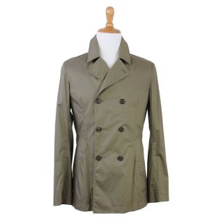 Cucinelli Green Double Breasted Trench Light Coat Jacket US XXL EU 56