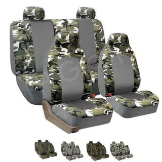 FH FB108114 Camouflage Car Seat Covers Airbag Ready & Split Bench 2