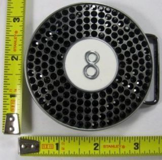 EIGHT BALL METAL BELT BUCKLE BLACK CRYSTAL RHINESTONE GEMS NEW B315