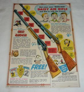 1955 Daisy Red Ryder bb gun air rifle ad page ~ MAN SIZE