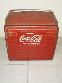 ANTIQUE COCA COLA COOLER  DRINK COCA COLA IN BOTTLES  ACTON MFG CO