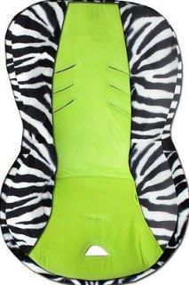 BABY CAR SEAT COVER FITS BRITAX MARATHON. WHITE ZEBRA/LIME GREEN. SOFT