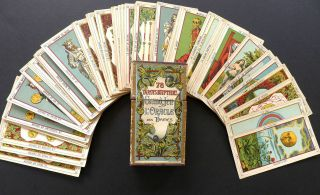 Antique Vintage Tarot Egyptiens Fortune Telling Cards by Delarue