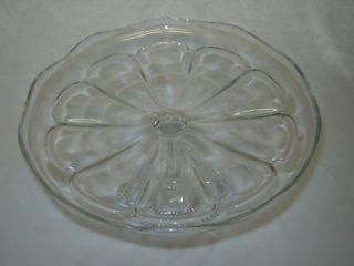 Antique EAPG 9 COLONIAL Clear Pedestal CAKE STAND