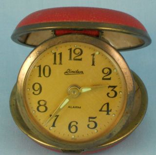 Vintage Linden Folding Alarm Clock Original Red Case For Repair/Back
