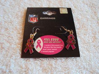 CHICAGO BEARS Logo Pink BCA Ribbon NFL Silver J Hook Dangle Earrings