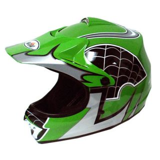 New Youth Kids Motocross MX ATV Dirt Bike Helmet Spider Green S M L