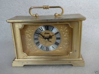 LINDEN Japan Brass Gold Tone Mantel ALARM CLOCK Ornate