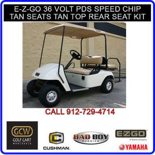 EZGO GOLF CART ELECTRIC PDS WITH SPEED CHIP WHITE BODY REAR SEAT KIT