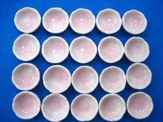 Miniature Ceramic China Kitchen Dinner 20 Pink Bowl Supply Set CC1D