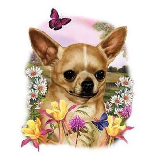 Chihuahua Dog Portrait Flowers And Butterfly Ladies Classic Fit White