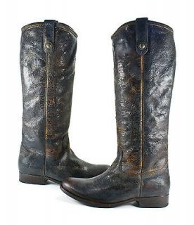 Frye Melissa Button Chocolate Brown Leather Cowboy Pull On Boots Shoes