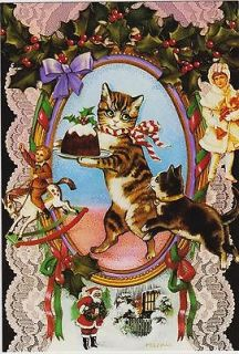 of 6 VICTORIAN CATS Spanish Christmas Cards FELICES FIESTAS NAVIDENAS