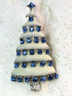 SAPPHIRE COLOR BLUE RHINESTONE CRYSTAL CHRISTMAS TREE PIN BROOCH H11