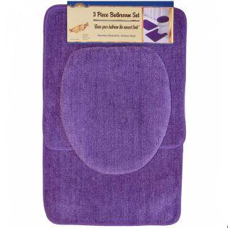 PC Purple Bathroom Set Bath Contour Rug, Lid Toilet seat Cover, Mat