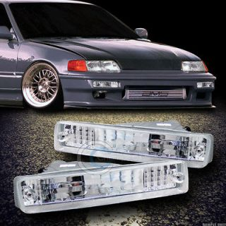 DEPO CHROME CLEAR LENS FRONT SIGNAL BUMPER LIGHTS LAMPS 90 91 HONDA