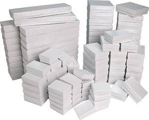 100 White Cotton Filled Jewelry Gift Boxes ~ assortment or any size