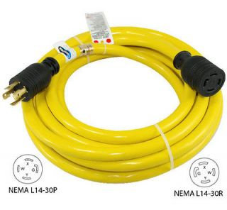30 Amp 25 FT NEMA L14 30 4 Wire 10 Gauge 125/250V Generator Power Cord