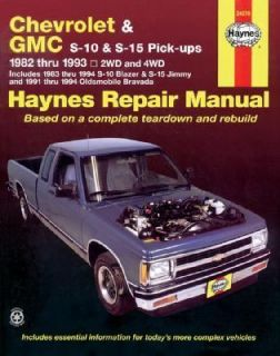 Haynes Chevrolet and GMC S10 and S 15 Pickups Workshop Manual, 1982