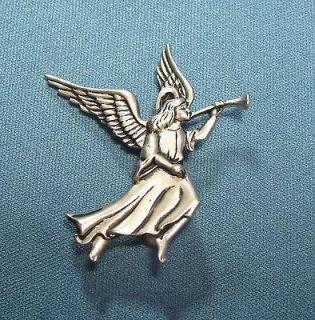 Blowing Horn Lg Wings Pewter Tone Metal Pin Brooch Christmas Xmas