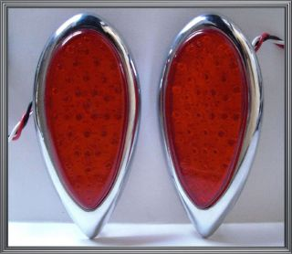 Ford Red LED Tail Brake or Turn Signal Lights w/ Chrome Metal Tear