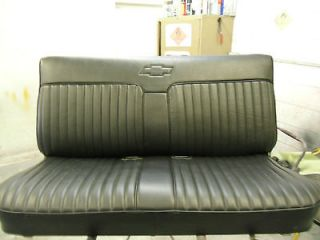 Reupholstered Chevy S10 bench Seat With Chevy Bowtie embroidered