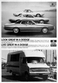 1973 Dodge Charger SE & Balboa Motorhome Original Ad