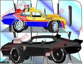 Mad Max Maxs 1973 Ford XB GT & 4 Door Falcon Interceptors Hot Rod Art
