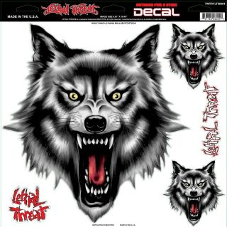 LETHAL THREAT Motorcycle Car Van Truck Decal Sticker WOLF   LARGE