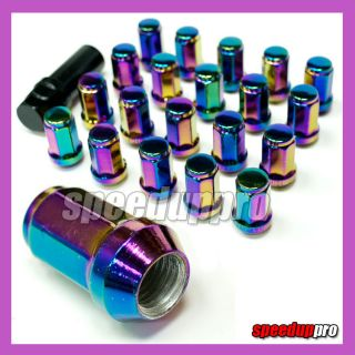 12x1.5 NEO CHROME Wheel Lug Nuts Heptagon 20pcs Alloy JDM Titanium