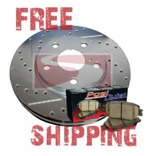 Geo Metro Convertible 90 93 Drill Slot Brake Rotors + POSI QUIET