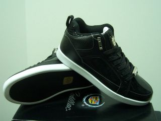 New Cadillac Footwear Black/White Crown Leather Mid Top Mens Shoes All
