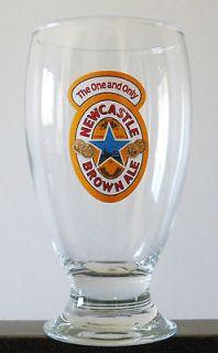 Set of 6 NEWCASTLE BROWN ALE SCHOONER PINT BEER GLASSES 16oz