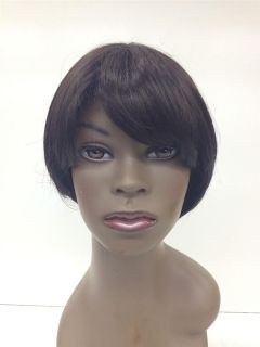 Gemtress Sheitel #2Brown 9 African American Lacefront Wig Weave Hair