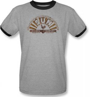 NEW Adult Sun Records Rooster Company Logo Vintage Fade Look T shirt
