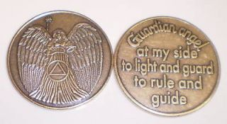 Alcoholics Anonymous   Guardian Angel  Bronze Coin