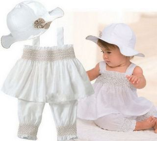 NWT Girl Baby Ruffle Top+Pants+Hat Set 0 3Y Cotton 3 Pcs Outfit